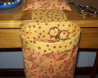 Thread Catcher // Scrap Caddy // Pin Cushion // With Rubberized Gripper Strip // Golden Paisley
