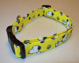 Dog Collar // Adjustable // Snoopy And Woodstock On Yellow // Charlie Brown