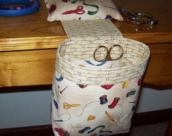 Thread Catcher // Scrap Caddy // Pin Cushion // With Rubberized Gripper Strip // Sewing Helpers