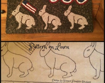 Hooked Rug Pattern on Linen Rabbits on Parade