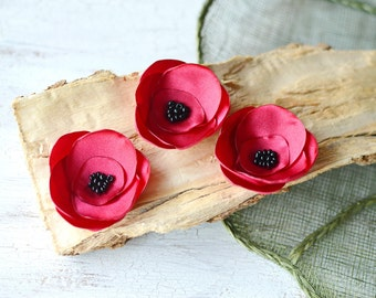 Satin fabric flowers, silk flower appliques bulk, small satin rose appliques, satin wedding flower, flower embellishment (3pcs)- RED ROSES
