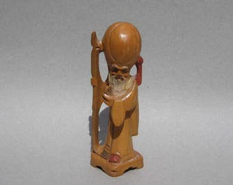 1950s Chinese Wood Carving God of Longevity Figure Shou Xing Blonde Wood Asian Statue Hand Carved