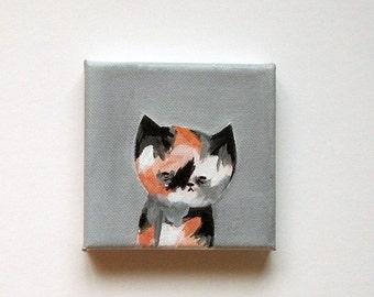 original painting, cat painting, cat art, cat portrait, original cat painting, restless cat