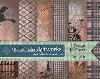Vintage Halloween Digital Scrapbook Paper Pack, Skeleton Witch Cemetery Ghost Set of 6, 12x12 Plaid Tartan Houndstooth Grunge jpg files