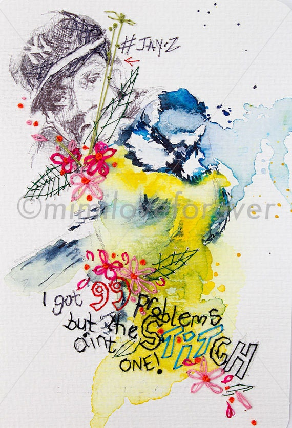 Blue Tit Watercolour. Bird Watercolour Painting with Embroidery Flowers. Unique Gift. Bird Art. Jay-Z. Hip Hop.