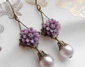 75% Off Price Sale- Mulberry Flower Earrings with Faux Pearl Vintage Beads
