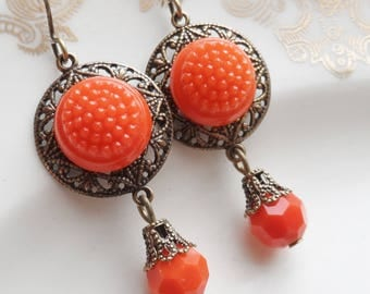 Orange Hobnail, Vintage Button Earring, German Glass.Timeless Trinkets