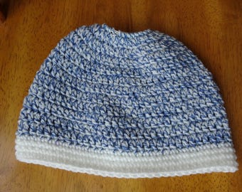 Crochet, Messy Bun Hat, Ponytail Hat, Blue ragg and white trim, ladies, 20 in diameter x 7 in high, accessory