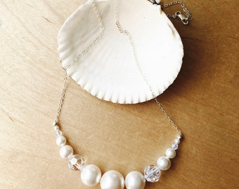 White Pearl and Crystal Necklace - Bridal Jewelry - Classic - Timeless