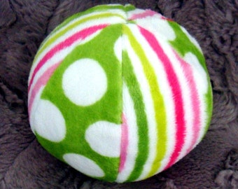 "Chimes Jingle - or - Bird Tweet - Ball -  Minky Ball for Baby or Puppy -  Listen to the chimes - 4.5"" or 7"""