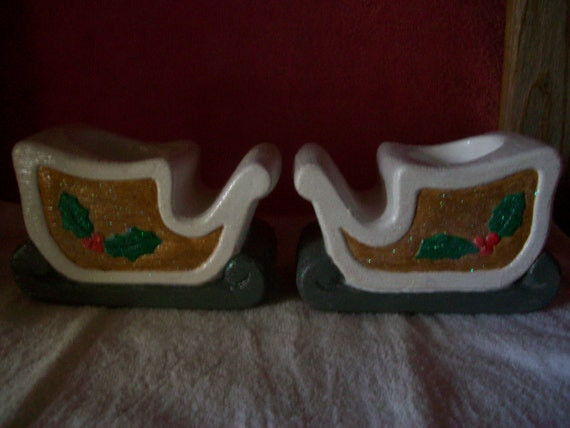 Ceramic  Candle Holder Christmas sled set, gold, white, gray , glittered with red berry, green holly leaves,  home decoration, great gift