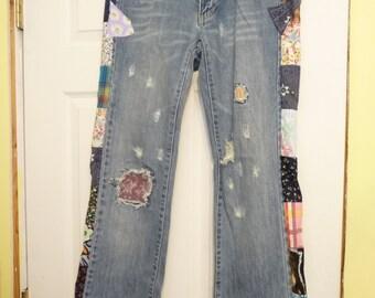 Patchwork Jeans, Handmade Pants, Unique Clothing, Recycled Clothing, Colorful Patchwork, Upcycled Clothing, Blue Jeans, Low Cut, Hippie Boho