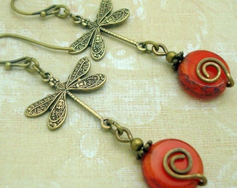 Boho Dragonfly Earrings with Orange Glass Coin Bead and Spiral
