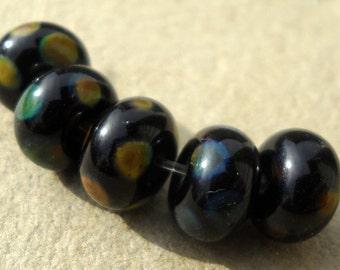 Handmade lampwork glass spacer beads in black and raku