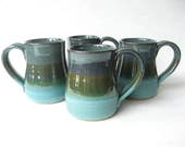 Set of Large Coffee Mugs,  Pottery Mugs Set of 4, Handmade Coffee Mugs, Stoneware Coffee Mugs, Set of 4 Pottery Mugs, Turquoise Pottery