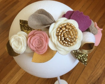 Felt Flower Crown // white, gold & pink // Felt Flowers // Flower Crown // Flower girl // Birthday // Wedding // holiday crown
