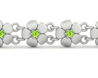 August Birthstone Bracelet with Genuine Peridot Flowers in 14k Gold - Bridesmaid Gift or Push Present - Laurie Sarah Flower Jewelry - LS4627