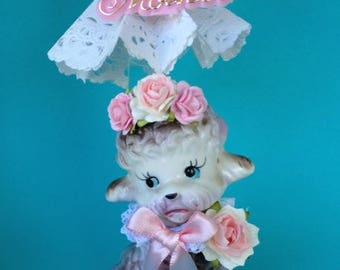 Mother's Day Decoration Shabby Chic Vintage Poodle Figurine Holding a Parasol Mother's Day Gift Ornament Cake Topper TVAT