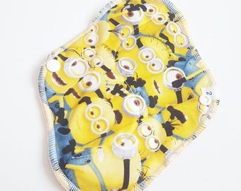 Cloth Menstrual Pad / Cloth Pad  .. 8 inch  Minions Printed Cotton Regular / Average FLOW  and FREE Shipping