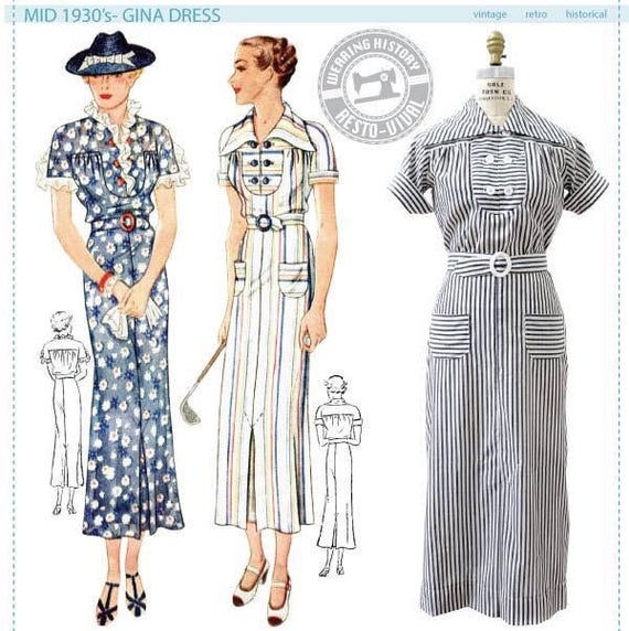 1930s House Dresses Mid 1930s Gina Dress Pattern- Physical Copy Vintage Repro Sewing Pattern 1930s 30s- $18.00 AT vintagedancer.com