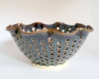 Blue Fluted Fruit Bowl - This is a second because there are lots of small glaze bubbles!  It is flawed.