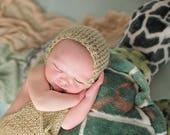 Baby Shorts, Newborn Romper,  Baby Hat, Newborn Photo Props - Knitted Bonnet - U Choose Color Size