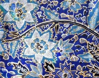 Motif Batik Fabric Indonesia Parang Rusak Batik Fabric Two Yards Blue Fabric Gold Metallic