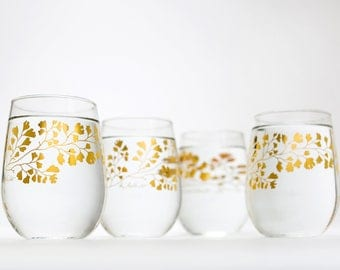 Gold Maidenhair Fern Glassware - Set of 4 stemless wine glasses, gold ferns, mothers day gift stemless glassware metallic gold gifts for her