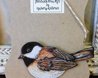 SALE Chickadee brooch pin