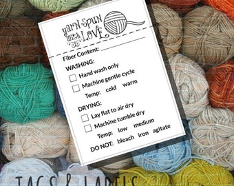 "Fiber Content Care Instructions - Printable PDF Cards for Handmade Yarns - ""Yarn Spun with Love"" Labels or Tags - Great for Craft Shows"
