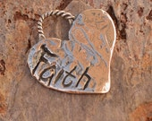 Artisan Faith Heart Charm in Sterling Silver, AD-637,