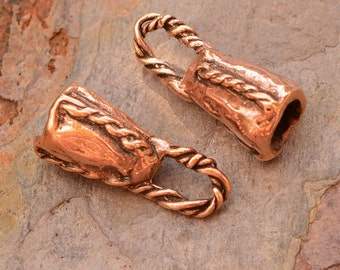 Fabulous Copper Bronze End Caps, Fits 4mm Smooth or Braided Leather Cord, AD-575c