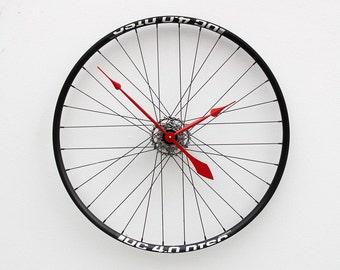 bike wheel clock, Christmas gift, bike christmas gift, bike lover clock gift, bicycle clock, Recycled Bike Wheel tire clock, industrial gift