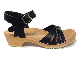 FINAL SALE clog -Black Vera Sandal with Buckled ankle strap