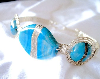 Turquoise Flat Oval Handmade Glass Sterling Silver Metal Wire Wrapped Bracelet