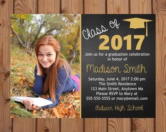 Graduation Party Invitation - Photo Invitation - College Graduation - High School Graduation - Class of 2017 - Gold - Digital - Printable