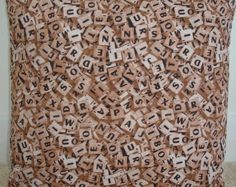 "Scrabble Pillow Cover 16"" Novelty Throw Accent Slip Sham Cushion Case Letter Tiles Letters Game Brown Beige"