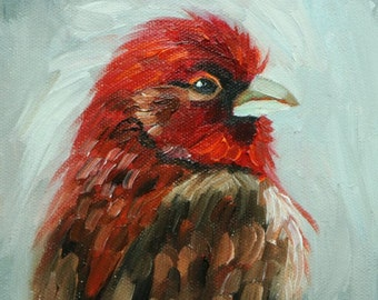Bird painting 266 6x6 inch portrait original oil painting by Roz