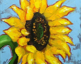 Floral painting 250 12x12 inch original still life sunflower oil painting by Roz