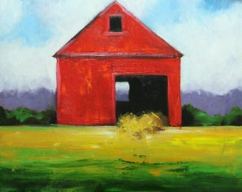 Landscape painting 275 30x30 inch red barn original oil painting by Roz