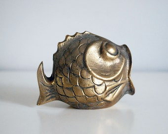 Brass Fish Ashtray, Vintage Tobacciana, Fish Figurine, Incense Burner, Smoking Accessories, Cigar Cigarette Holder, Man Cave Decor