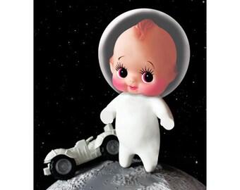 kewpie astronaut print 5 x 7 ROCKET BYE BABY