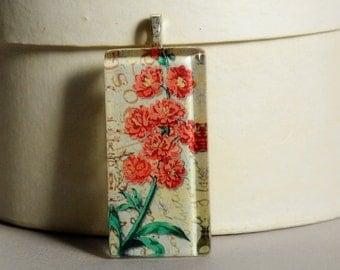 Vintage Floral Glass Tile Pendant - Vintage Floral Pendant