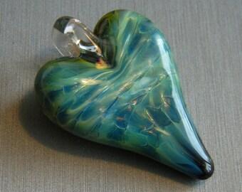 Lampwork Boro Glass Pendant - Focal Bead - HEART metallic bluegreen