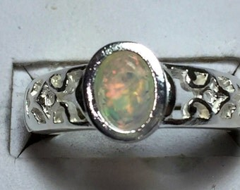 Rainbow opal and silver ring
