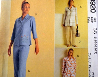 Sewing Pattern McCall's  3920 Misses' Tops and Pants Uncut Complete Bust 40-46 inches Plus Size