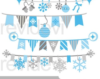 Winter blue banners digital clip art - blue gray hanging bunting banners - digital images, instant download, commercial use