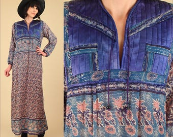 ViNtAgE 70's RARE INDIAN Cotton Bohemian Maxi Dress // Hand Block Print Floral India Hippie Boho Festival Dress Blue Satin Bib M L
