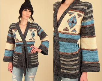 Vintage Wrap Sweater 70's Space Dye Cardigan // With Belt Belted Kimono Bell Sleeve // Southwestern HiPPiE BoHo M Medium