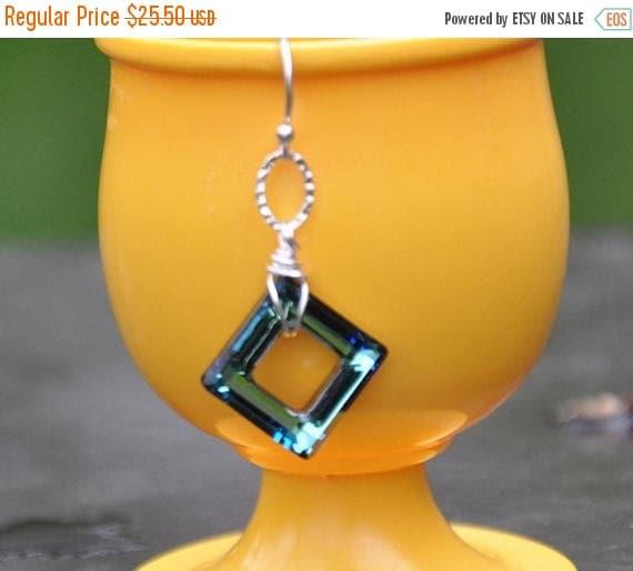 Swarovski Crystal Earrings, Sterling Silver, Dangle Earrings, Geometric Earrings, Bermuda Blue, Fashion Jewelry